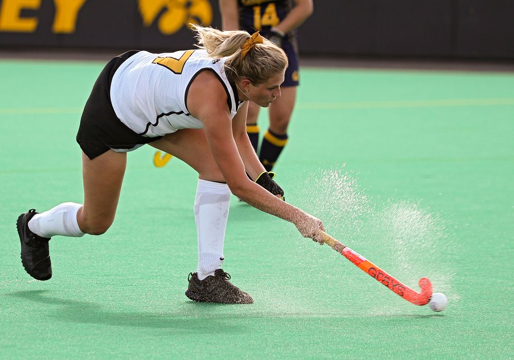 Iowa's Ellie Holley (7) lines up a shot during the third quarter of their game at Grant Field in Iowa City on Friday, Sep 13, 2019. (Stephen Mally/hawkeyesports.com)