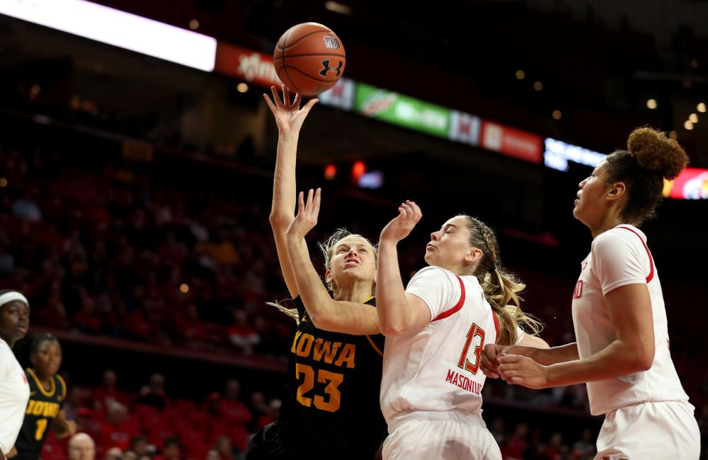 Iowa Hawkeyes Logan Cook (23) against the Maryland Terrapins Thursday, February 13, 2020 at the Xfinity Center in College Park, MD. (Brian Ray/hawkeyesports.com)