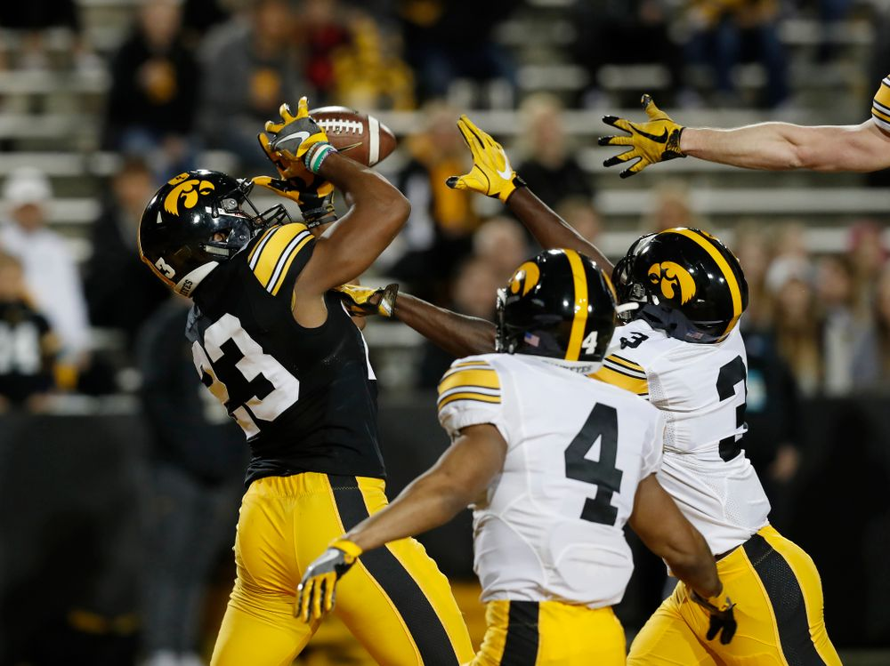 Iowa Hawkeyes wide receiver Dominique Dafney (23) during their final spring practice Friday, April 20, 2018 at Kinnick Stadium. (Brian Ray/hawkeyesports.com)