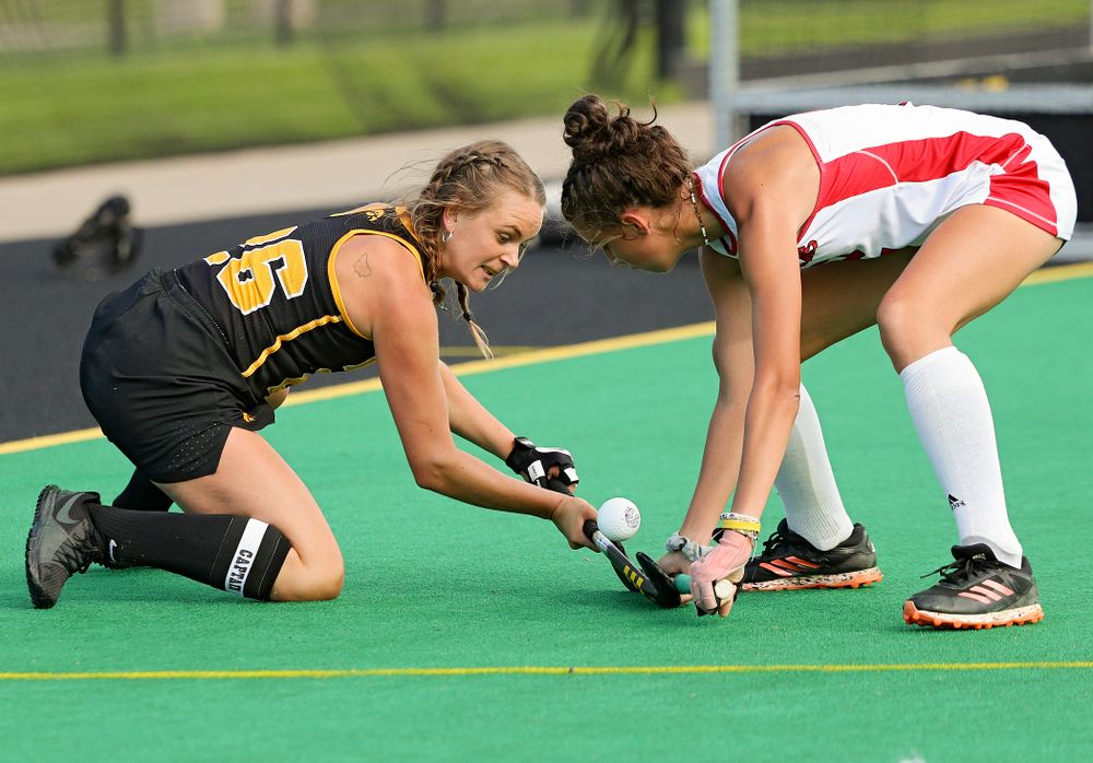 Iowa's Maddy Murphy (26) tries to control the ball during the third quarter of their match at Grant Field in Iowa City on Friday, Oct 4, 2019. (Stephen Mally/hawkeyesports.com)
