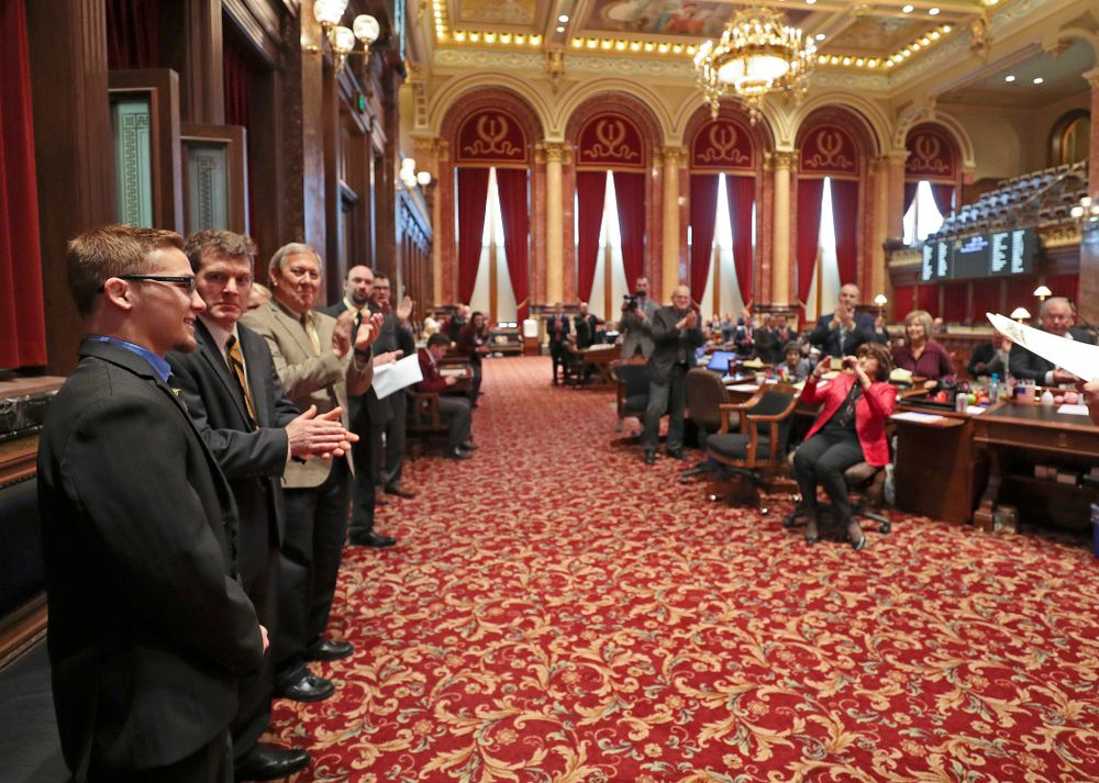 Iowa's Spencer Lee is honored in the Senate Chamber at the Iowa State Capitol Building on Tuesday, Apr. 9, 2019. (Stephen Mally/hawkeyesports.com)