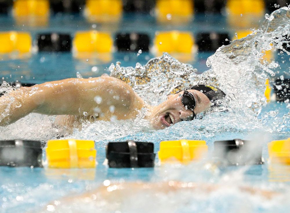 Iowa's Grace Reeder swims the freestyle section of the 100-yard individual medley event during their meet against Michigan State at the Campus Recreation and Wellness Center in Iowa City on Thursday, Oct 3, 2019. (Stephen Mally/hawkeyesports.com)
