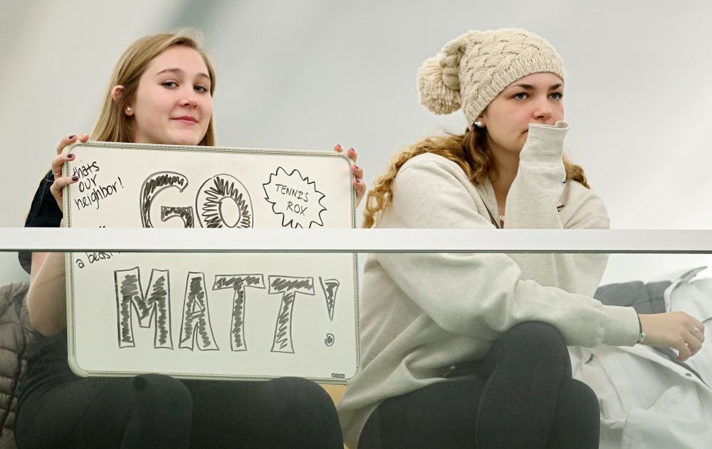 Fans cheer for Iowa's Matt Clegg during his match against Marquette at the Hawkeye Tennis and Recreation Complex in Iowa City on Saturday, January 25, 2020. (Stephen Mally/hawkeyesports.com)