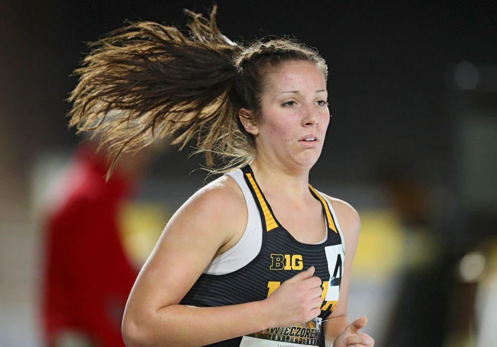 Iowa's Maggie Gutwein runs the women's 3000 meter run event during the Larry Wieczorek Invitational at the Recreation Building in Iowa City on Friday, January 17, 2020. (Stephen Mally/hawkeyesports.com)