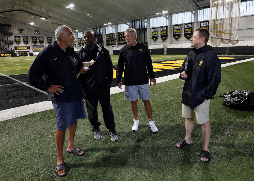 Iowa Hawkeyes head coach Kirk Ferentz  talks with the BTN crew during camp practice No. 15  Monday, August 20, 2018 at the Hansen Football Performance Center. (Brian Ray/hawkeyesports.com)
