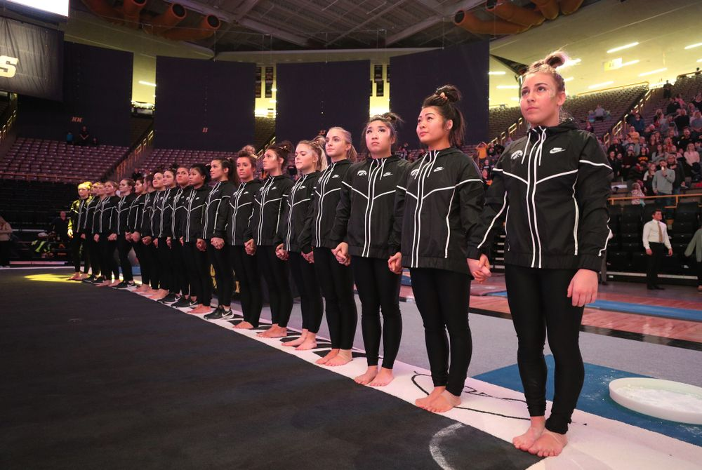 The Iowa Hawkeyes stand for the National Anthem before their meet against Southeast Missouri State Friday, January 11, 2019 at Carver-Hawkeye Arena. (Brian Ray/hawkeyesports.com)