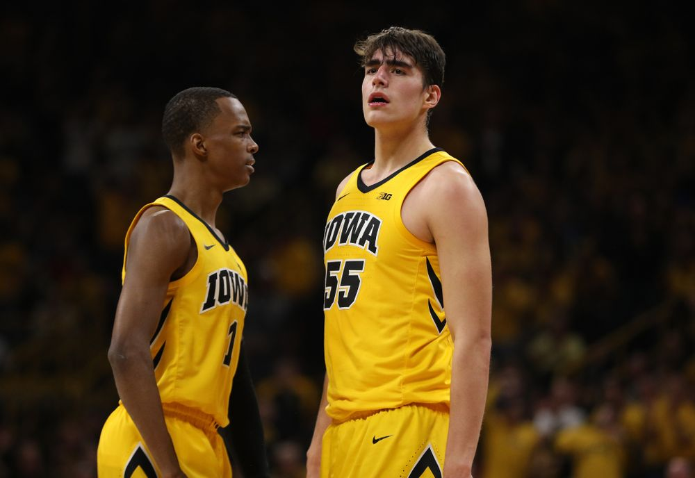 Iowa Hawkeyes forward Luka Garza (55) against the Wisconsin Badgers Friday, November 30, 2018 at Carver-Hawkeye Arena. (Brian Ray/hawkeyesports.com)