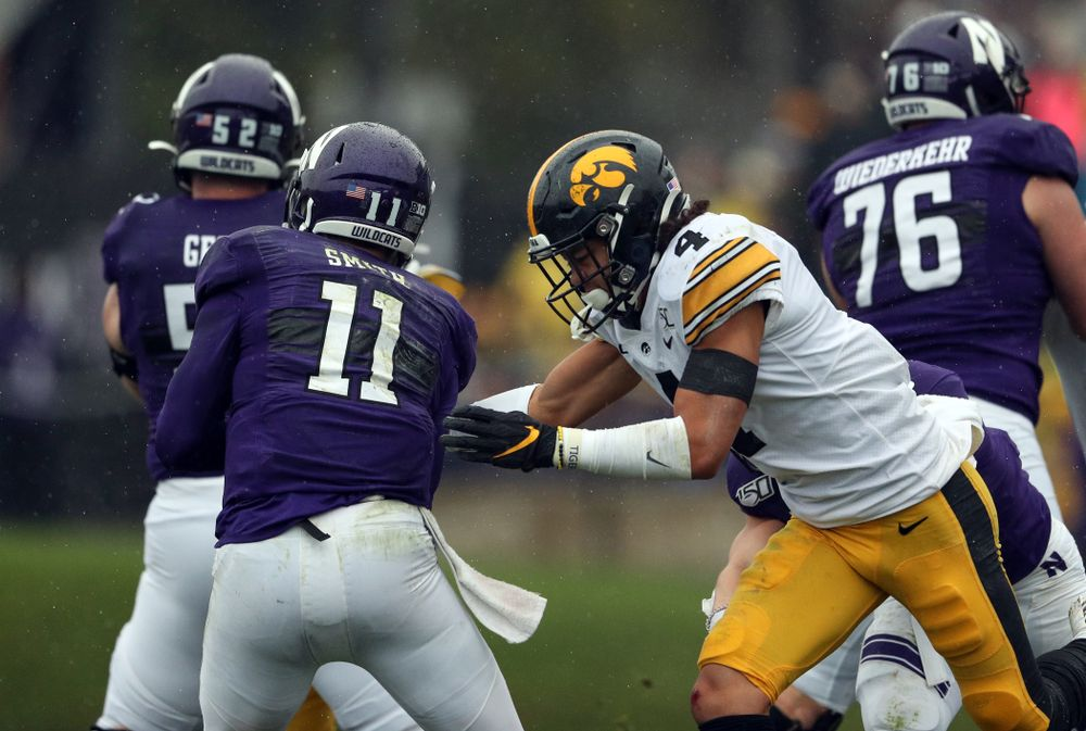 Iowa Hawkeyes defensive back Dane Belton (4) against the Northwestern Wildcats Saturday, October 26, 2019 at Ryan Field in Evanston, Ill. (Brian Ray/hawkeyesports.com)