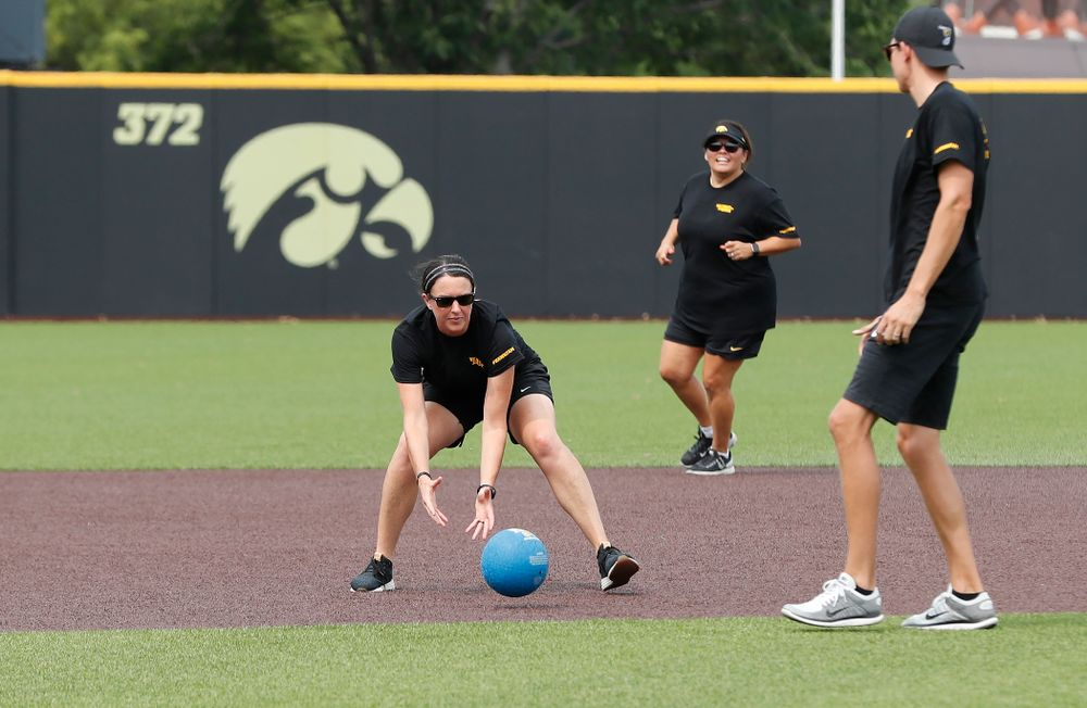 Women's Basketball Director of Player Development Abby Stamp during the Iowa Student Athlete Kickoff Kickball game  Sunday, August 19, 2018 at Duane Banks Field. (Brian Ray/hawkeyesports.com)