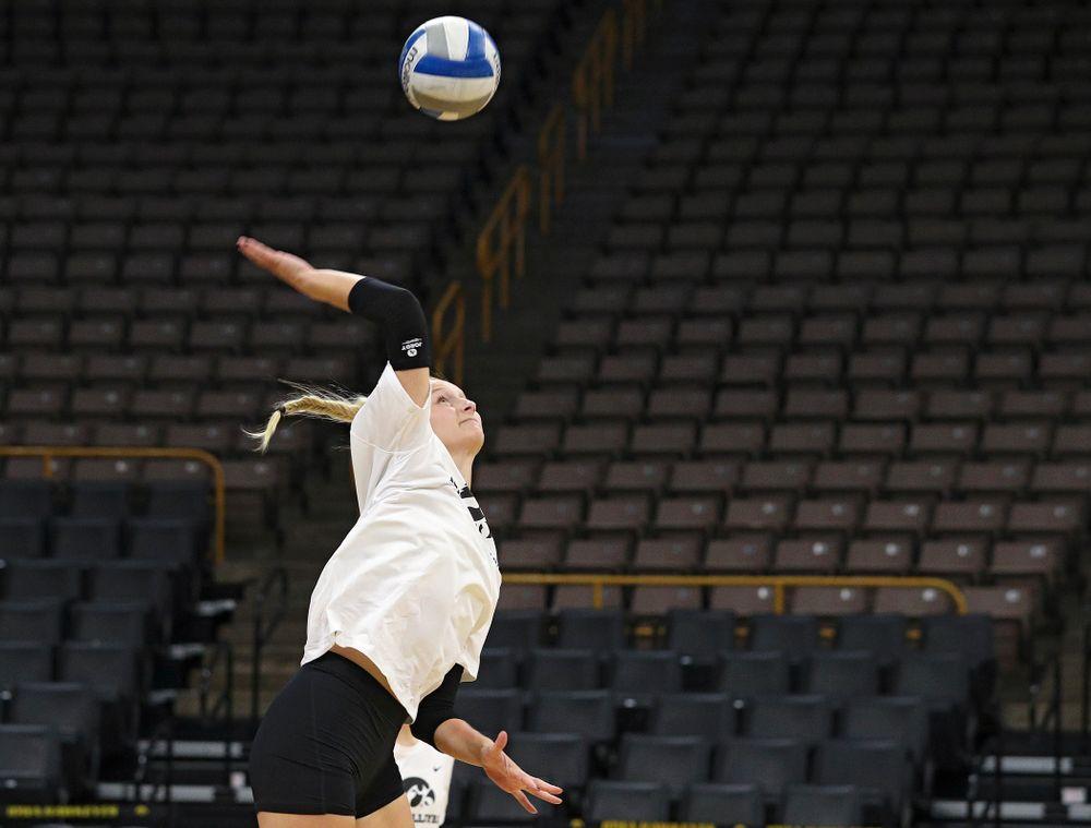 Iowa's Kyndra Hansen (8) during Iowa Volleyball's Media Day at Carver-Hawkeye Arena in Iowa City on Friday, Aug 23, 2019. (Stephen Mally/hawkeyesports.com)