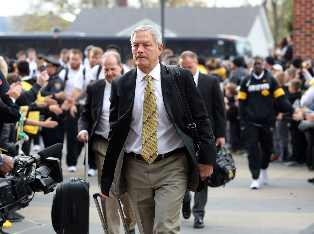 Iowa Hawkeyes head coach Kirk Ferentz arrives for their game against the Purdue Boilermakers Saturday, October 19, 2019 at Kinnick Stadium. (Brian Ray/hawkeyesports.com)