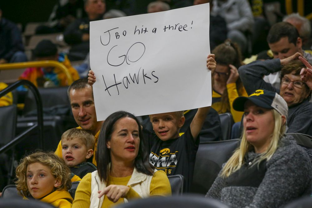 A fan waves a sign during Iowa men's basketball vs SIUE on Friday, November 8, 2019 at Carver-Hawkeye Arena. (Lily Smith/hawkeyesports.com)