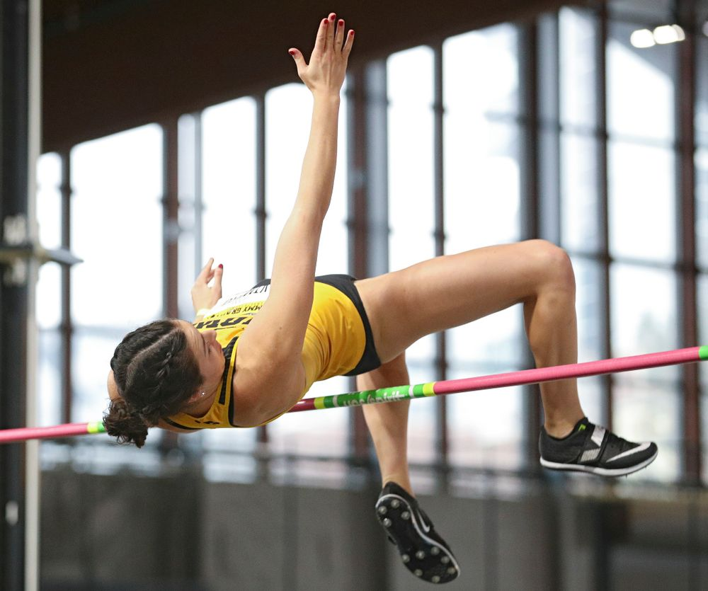Iowa's Jenny Kimbro competes in the women's high jump event during the Jimmy Grant Invitational at the Recreation Building in Iowa City on Saturday, December 14, 2019. (Stephen Mally/hawkeyesports.com)