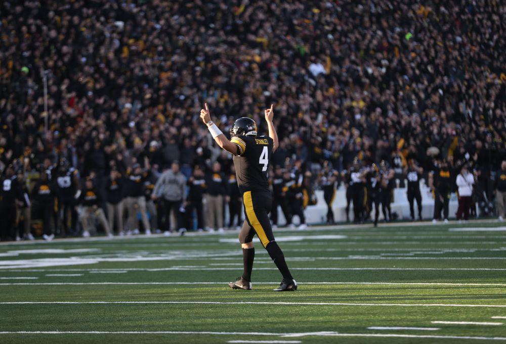 Iowa Hawkeyes quarterback Nate Stanley (4) against Minnesota Saturday, September 28, 2019 at Kinnick Stadium. (Max Allen/hawkeyesports.com)