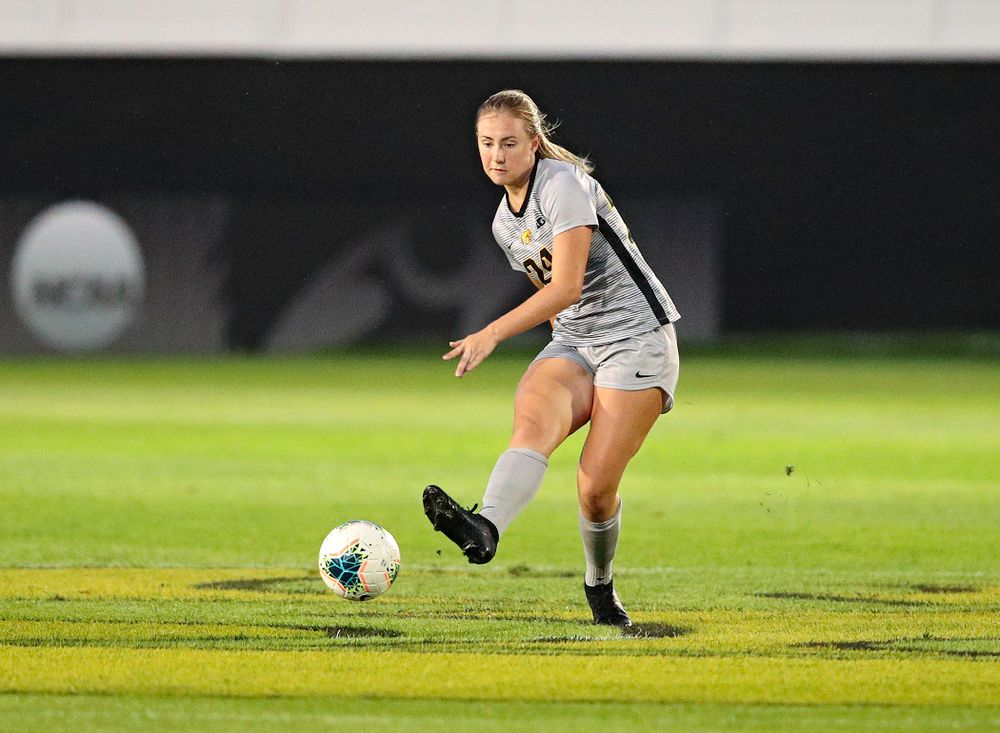 Iowa defender Sara Wheaton (24) passes during the first half of their match at the Iowa Soccer Complex in Iowa City on Friday, Sep 13, 2019. (Stephen Mally/hawkeyesports.com)