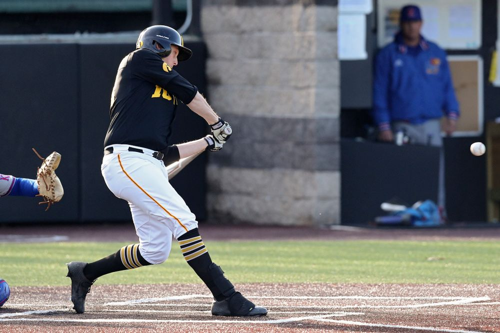 Iowa designated hitter Trenton Wallace (38) hits an RBI double during the third inning of their college baseball game at Duane Banks Field in Iowa City on Tuesday, March 10, 2020. (Stephen Mally/hawkeyesports.com)