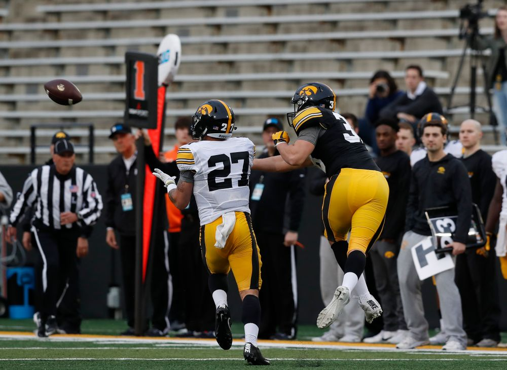 Iowa Hawkeyes defensive back Amani Hooker (27) during the final spring practice Friday, April 20, 2018 at Kinnick Stadium. (Brian Ray/hawkeyesports.com)