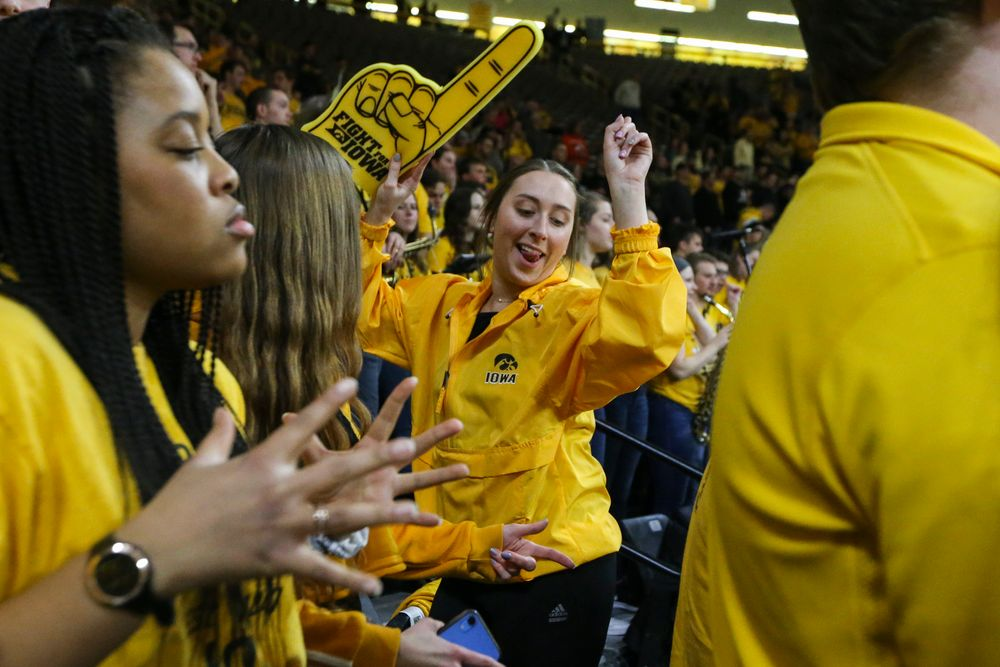 UI students dance during pregame during the Iowa men's basketball game vs Rutgers on Wednesday, January 22, 2020 at Carver-Hawkeye Arena. (Lily Smith/hawkeyesports.com)