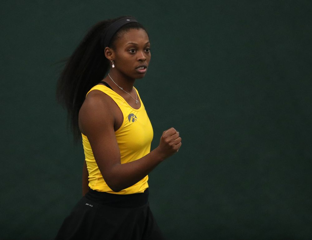 Iowa's Adorabol Huckleby plays a doubles match against Xavier Friday, January 18, 2019 at the Hawkeye Tennis and Recreation Center. (Brian Ray/hawkeyesports.com)