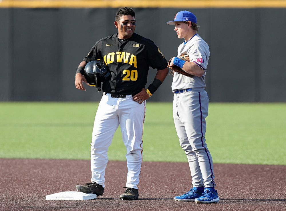 Iowa infielder Izaya Fullard (20) talks on second base during the first inning of their college baseball game at Duane Banks Field in Iowa City on Tuesday, March 10, 2020. (Stephen Mally/hawkeyesports.com)