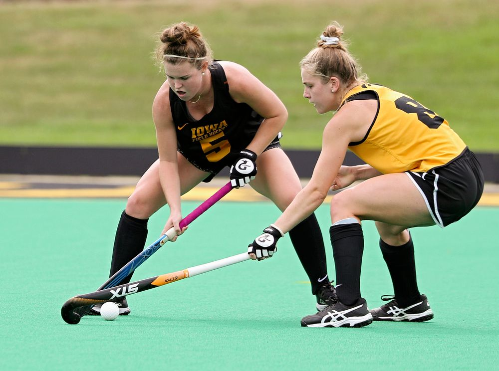 Iowa's Meghan Conroy (5) and Nikki Freeman (8) during practice at Grant Field in Iowa City on Thursday, Aug 15, 2019. (Stephen Mally/hawkeyesports.com)