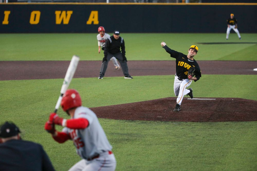 Iowa pitcher Grant Leonard (43) at the game vs. Bradley on Tuesday, March 26, 2019 at (place). (Lily Smith/hawkeyesports.com)