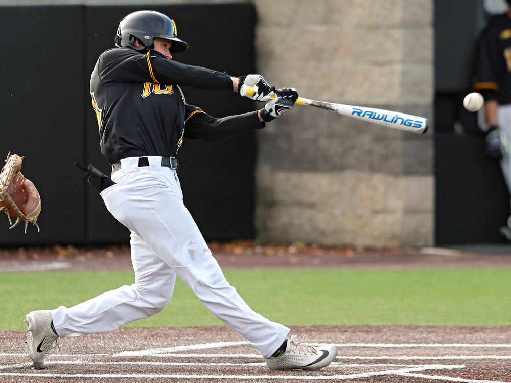 Iowa outfielder Paul Vossen (15) drives a pitch for a hit during the third inning of the first game of the Black and Gold Fall World Series at Duane Banks Field in Iowa City on Tuesday, Oct 15, 2019. (Stephen Mally/hawkeyesports.com)