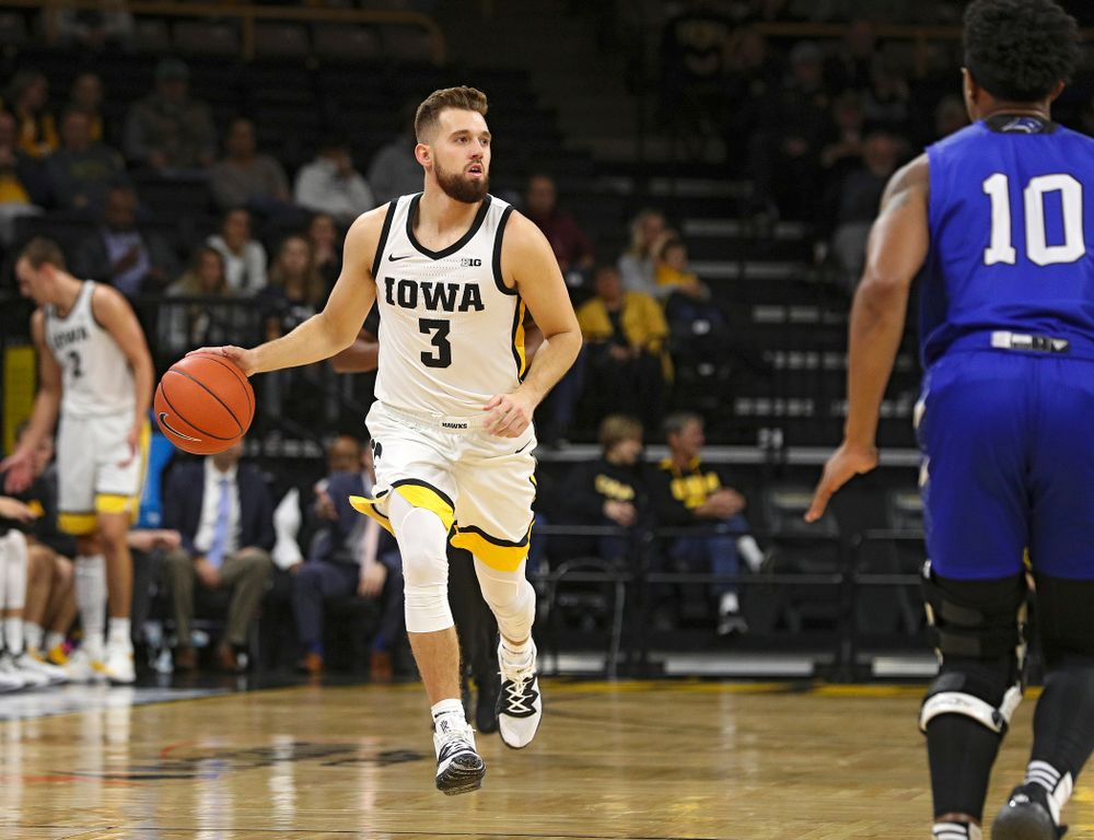 Iowa Hawkeyes guard Jordan Bohannon (3) brings the ball down the court during the first half of their exhibition game against Lindsey Wilson College at Carver-Hawkeye Arena in Iowa City on Monday, Nov 4, 2019. (Stephen Mally/hawkeyesports.com)