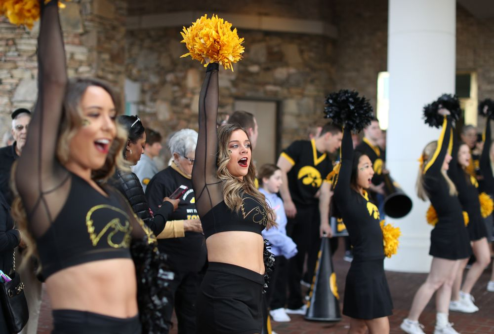 The Iowa Dance Team during a send off at the hotel before their game against the NC State Wolfpack in the regional semi-final of the 2019 NCAA Women's College Basketball Tournament Saturday, March 30, 2019 at Greensboro Coliseum in Greensboro, NC.(Brian Ray/hawkeyesports.com)