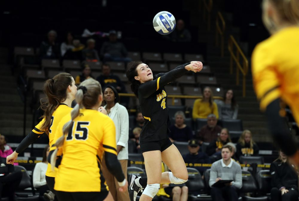 Iowa Hawkeyes defensive specialist Halle Johnston (4) against the Rutgers Scarlet Knights Saturday, November 2, 2019 at Carver-Hawkeye Arena. (Brian Ray/hawkeyesports.com)