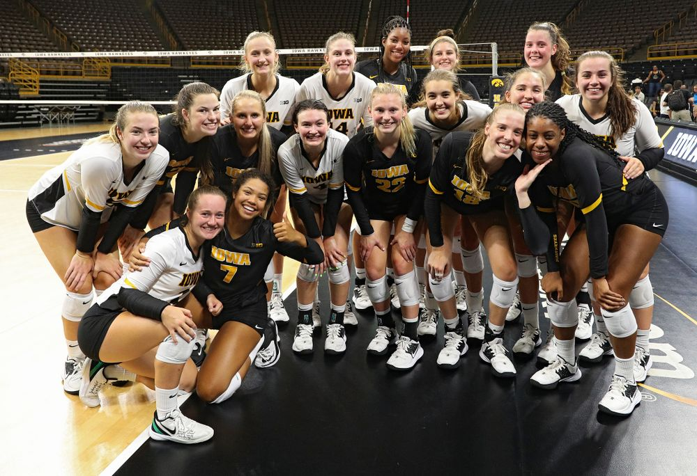 The Iowa Hawkeyes after the Black and Gold scrimmage at Carver-Hawkeye Arena in Iowa City on Saturday, Aug 24, 2019. (Stephen Mally/hawkeyesports.com)