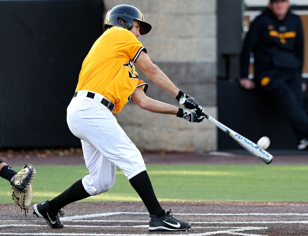Iowa outfielder Justin Jenkins (6) bats during the fourth inning of the first game of the Black and Gold Fall World Series at Duane Banks Field in Iowa City on Tuesday, Oct 15, 2019. (Stephen Mally/hawkeyesports.com)