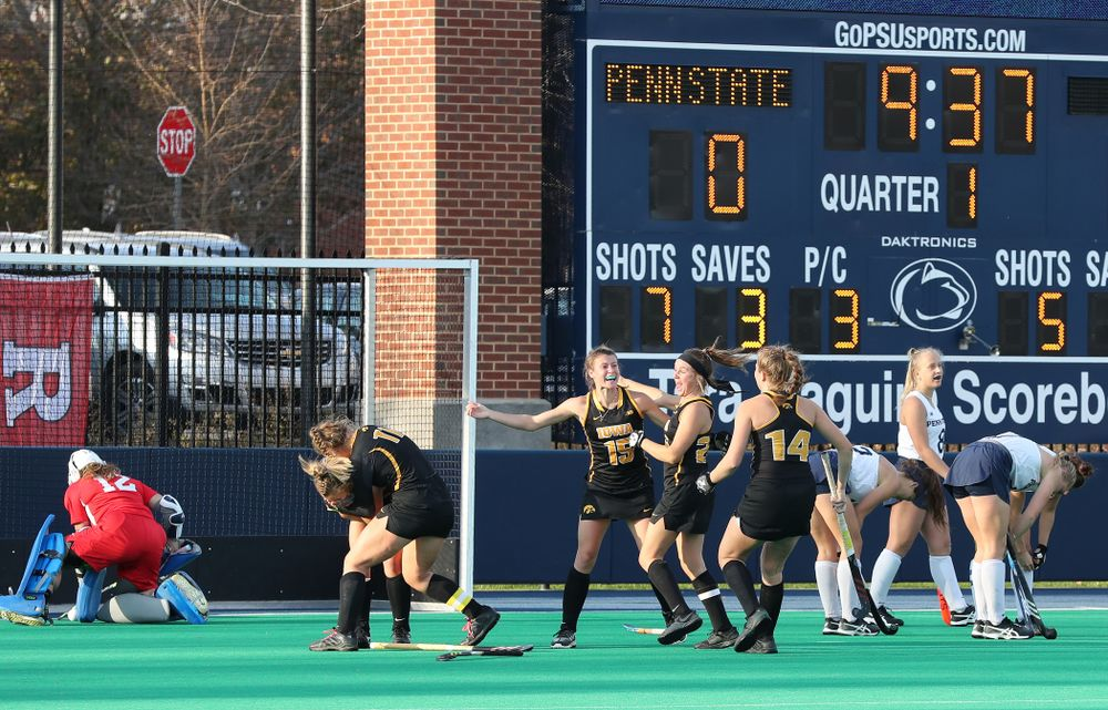 The Iowa Hawkeyes celebrate their game winning goal against Penn State in the 2019 Big Ten Field Hockey Tournament Championship Game Sunday, November 10, 2019 in State College. (Brian Ray/hawkeyesports.com)