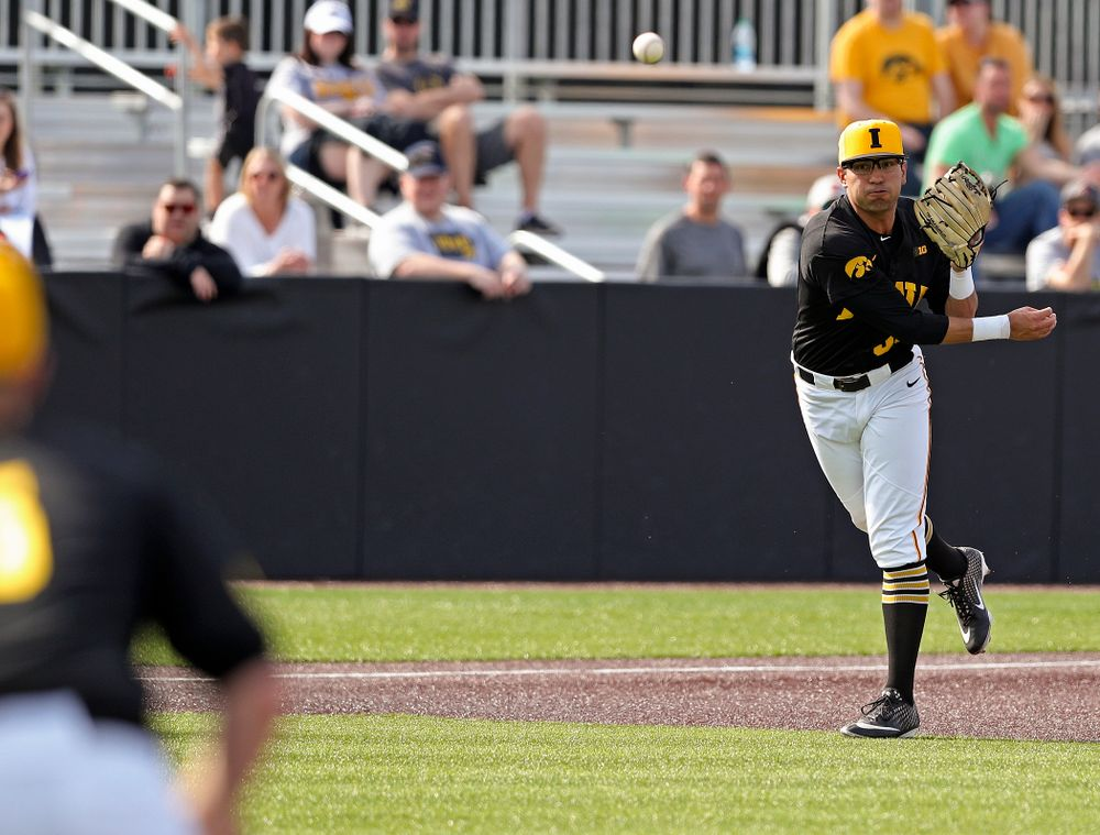 Iowa Hawkeyes third baseman Matthew Sosa (31) throws to first for an out during the seventh inning of their game against Rutgers at Duane Banks Field in Iowa City on Saturday, Apr. 6, 2019. (Stephen Mally/hawkeyesports.com)