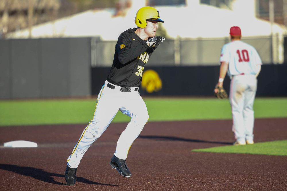 Iowa outfielder Connor McCaffery at the game vs. Bradley on Tuesday, March 26, 2019 at (place). (Lily Smith/hawkeyesports.com)