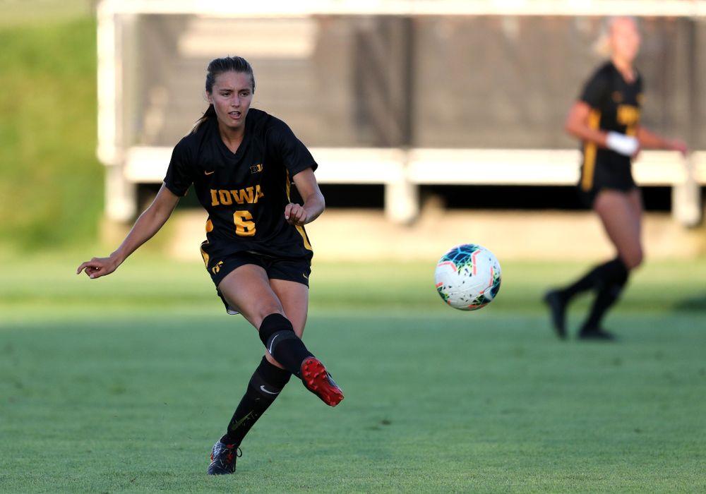 Iowa Hawkeyes midfielder Isabella Blackman (6) against Western Michigan Thursday, August 22, 2019 at the Iowa Soccer Complex. (Brian Ray/hawkeyesports.com)