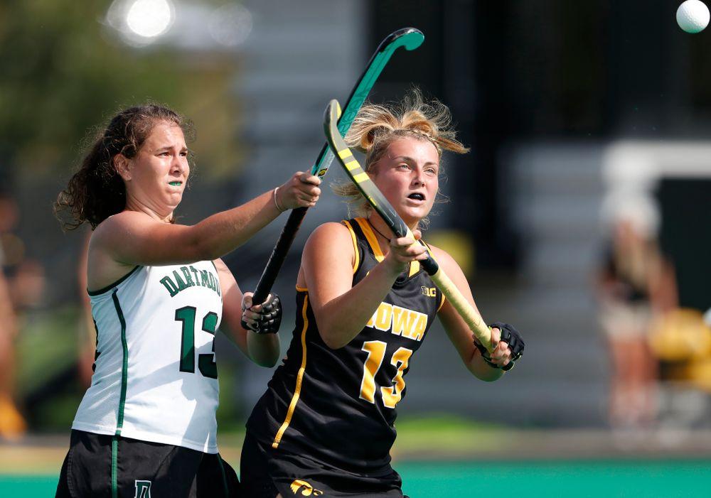 Iowa Hawkeyes Leah Zellner (13) against Dartmouth Friday, August 31, 2018 at Grant Field.  (Brian Ray/hawkeyesports.com)