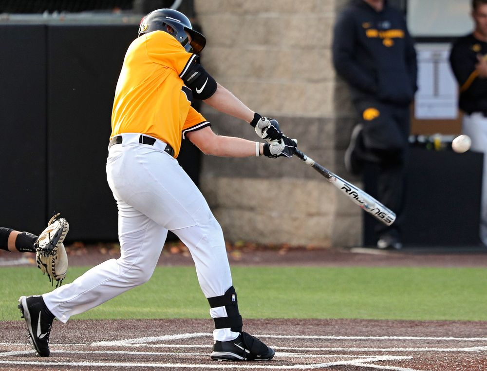 Iowa's Zeb Adreon (5) hits a 2-run double during the third inning of the first game of the Black and Gold Fall World Series at Duane Banks Field in Iowa City on Tuesday, Oct 15, 2019. (Stephen Mally/hawkeyesports.com)