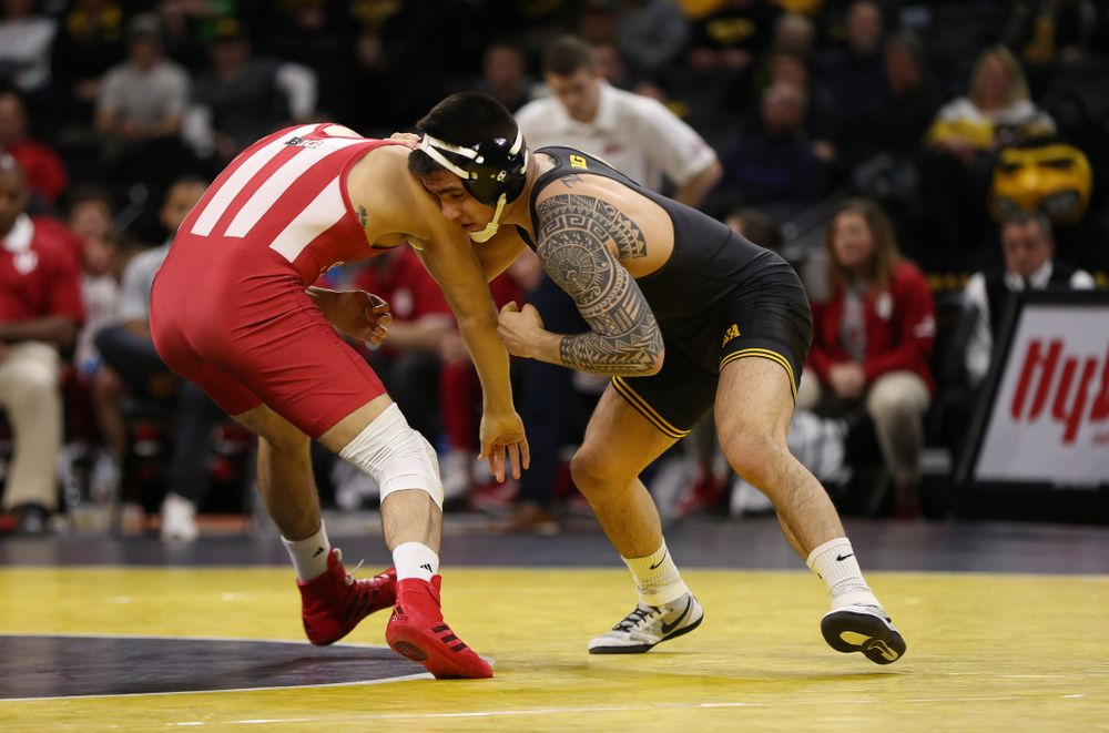 Iowa's Pat Lugo wrestles Indiana's Ferni Luigs at 149 pounds Friday, February 15, 2019 at Carver-Hawkeye Arena. (Brian Ray/hawkeyesports.com)