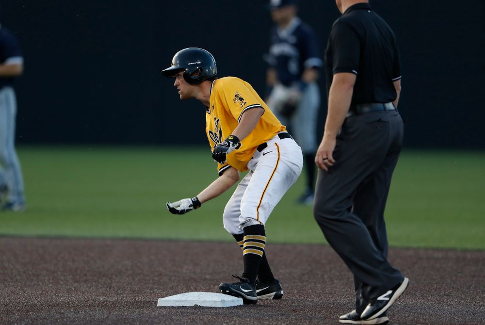 Iowa Hawkeyes outfielder Justin Jenkins (6) against the Penn State Nittany Lions Saturday, May 19, 2018 at Duane Banks Field. (Brian Ray/hawkeyesports.com)
