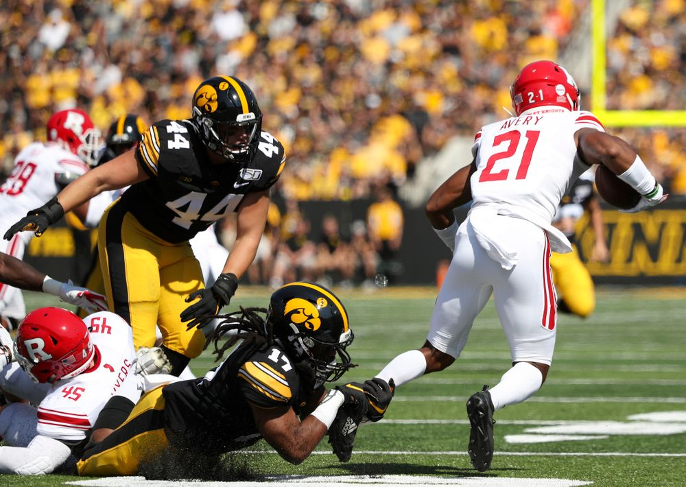Iowa Hawkeyes defensive back Devonte Young (17) makes a tackle during the first quarter of their Big Ten Conference football game at Kinnick Stadium in Iowa City on Saturday, Sep 7, 2019. (Stephen Mally/hawkeyesports.com)