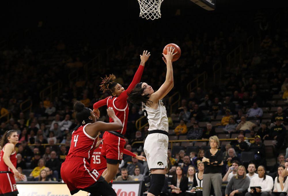Iowa Hawkeyes forward Megan Gustafson (10) against the Rutgers Scarlet Knights Wednesday, January 23, 2019 at Carver-Hawkeye Arena. (Brian Ray/hawkeyesports.com)