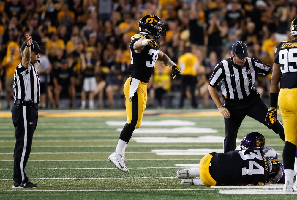 Iowa Hawkeyes defensive back Jake Gervase (30) reacts after a fumble recovery during a game against Northern Iowa at Kinnick Stadium on September 15, 2018. (Tork Mason/hawkeyesports.com)