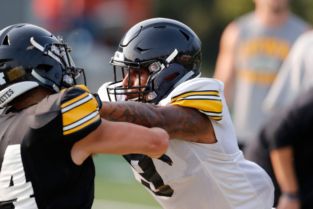 Iowa Hawkeyes defensive back Geno Stone (9) during camp practice No. 16 Tuesday, August 21, 2018 at the Hansen Football Performance Center. (Brian Ray/hawkeyesports.com)