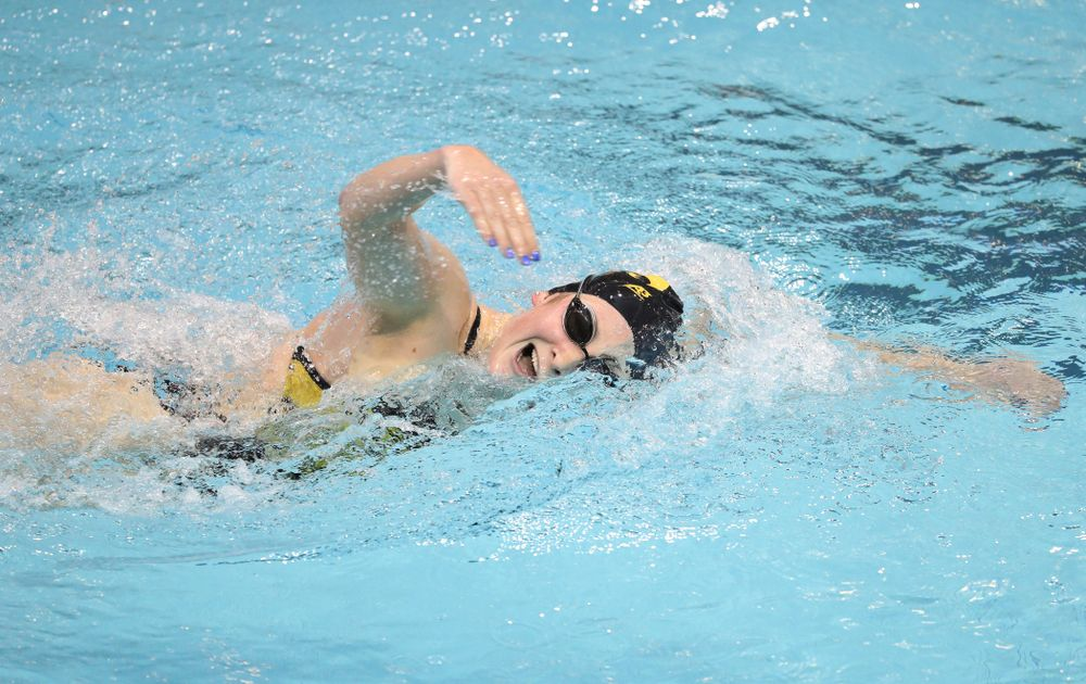 Iowa's Abey Schneider swims the 1000 yard freestyle during a double dual against Wisconsin and Northwestern Saturday, January 19, 2019 at the Campus Recreation and Wellness Center. (Brian Ray/hawkeyesports.com)