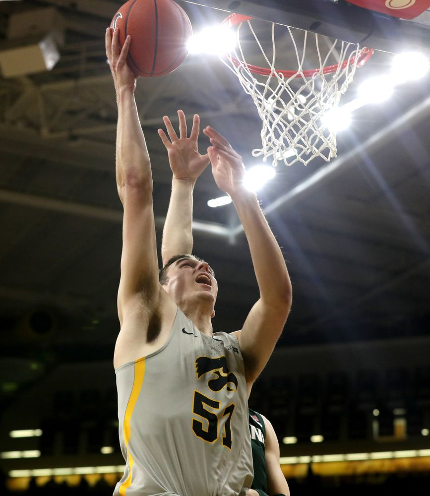 Iowa Hawkeyes forward Nicholas Baer (51) against the Michigan State Spartans Thursday, January 24, 2019 at Carver-Hawkeye Arena. (Brian Ray/hawkeyesports.com)