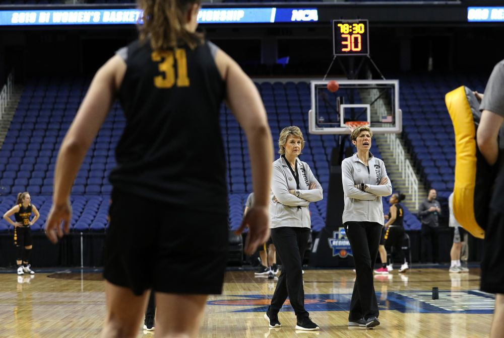 Iowa Hawkeyes head coach Lisa Bluder and associate head coach Jan Jensen during media and practice as they prepare for their Sweet 16 matchup against NC State Friday, March 29, 2019 at the Greensboro Coliseum in Greensboro, NC.(Brian Ray/hawkeyesports.com)