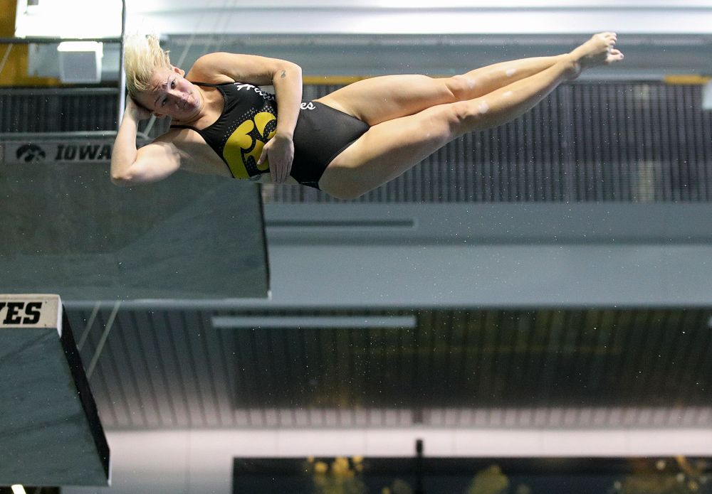 Iowa's Thelma Strandberg competes in the women's 3-meter diving event during their meet against Michigan State and Northern Iowa at the Campus Recreation and Wellness Center in Iowa City on Friday, Oct 4, 2019. (Stephen Mally/hawkeyesports.com)