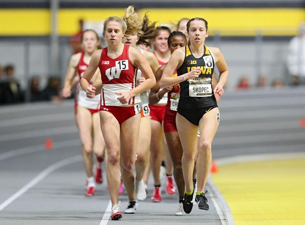 Iowa's Gabby Skopec runs the women's 3000 meter run event during the Larry Wieczorek Invitational at the Recreation Building in Iowa City on Friday, January 17, 2020. (Stephen Mally/hawkeyesports.com)