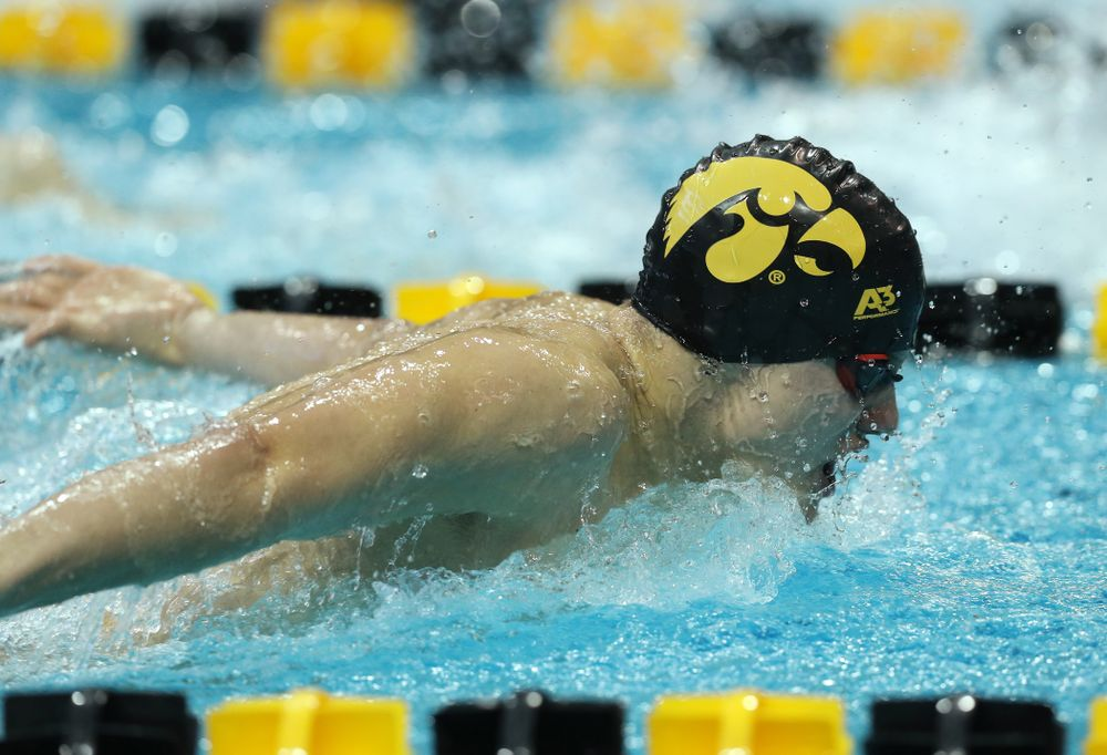 Iowa's Anze Fers Erzen swims the 200 yard Individual Medley Thursday, November 15, 2018 during the 2018 Hawkeye Invitational at the Campus Recreation and Wellness Center. (Brian Ray/hawkeyesports.com)
